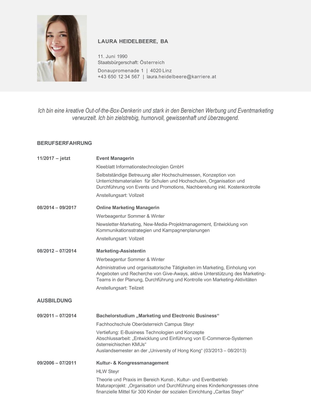 Tabellarischer Lebenslauf Muster Vorlagen 8
