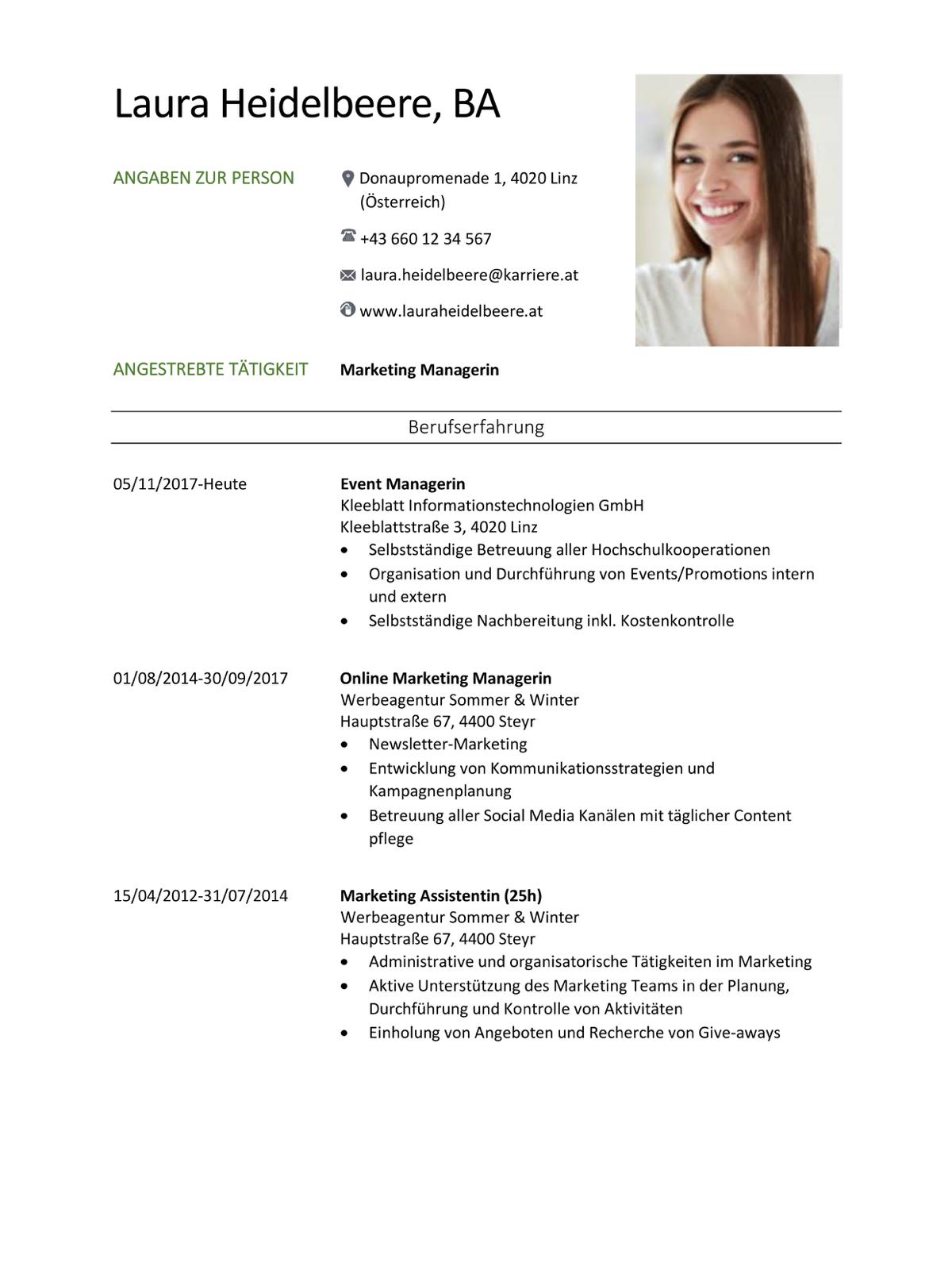 Lebenslauf Vorlagen Kostenlose Empfohlene Muster Karriere At